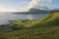 Green hillsides of Vestvagoya from Haugheia, Lofoten Islands, Norway - AURF07934
