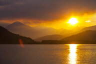 Lillooet Lake at sunset in Coast Mountain Range, British Columbia, Canada - AURF07970