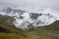Germany, Bavaria, Allgaeu, Allgaeu Alps, View from Nebelhorn, fog and clouds - WIF03704