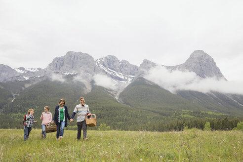 Family having picnic in rural field - HEROF02155