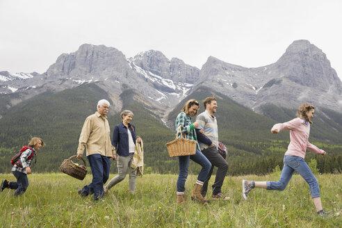 Family having picnic in rural field - HEROF02167