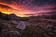 Scenic view of a dramatic colorful sky over the mountains at sunset - INGF11313