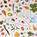 High angle view of a variety of still life objects - INGF11319