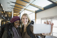Women taking selfie in airport - HEROF03074