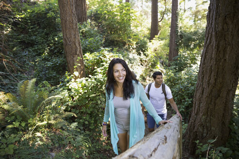 Couple hiking in woods - HEROF03281
