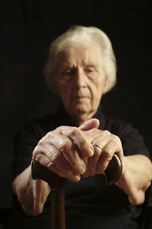 Portrait of an aged woman, looking sad - WWF04572