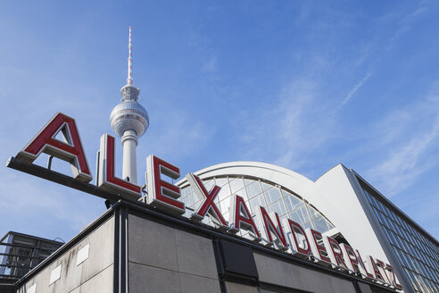 Germany, Berlin, Alexanderplatz, train station with TV Tower in the background - GWF05725