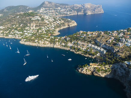 Spain, Baleares, Mallorca, Aerial view of Port d'Andratx, cliff coast - AMF06546
