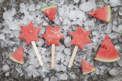 Homemade frozen watermelon star ice lollies - GWF05744