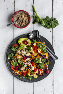 Kale avocado salad with red cabbage, tomato, fried mushroom, carrot, apple and raspberry - SARF04039