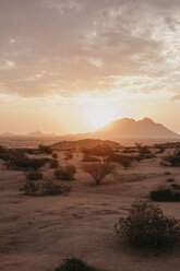 Namibia, Spitzkoppe, desert landscape at sunset - LHPF00375