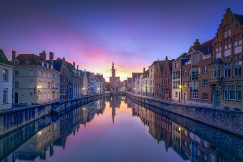 Belgium, Bruges, row of houses at canal by twilight - RPSF00257