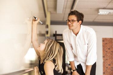 Male teacher watching girl writing on whiteboard - ASTF00055