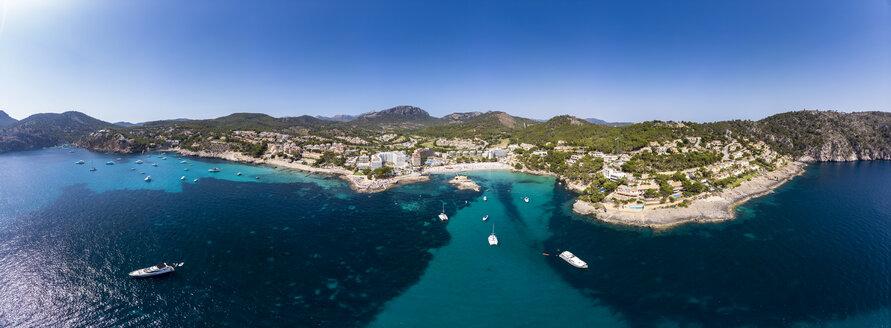 Spain, Baleares, Mallorce, Calvia region, Costa de la Calma, Aerial view of Camp de Mar - AMF06586