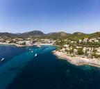 Spain, Baleares, Mallorce, Calvia region, Costa de la Calma, Aerial view of Camp de Mar - AMF06592
