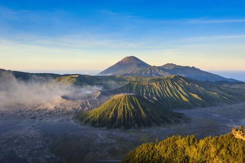 Indonesia, Java, Bromo Tengger Semeru National Park, Mount Bromo volcanic crater at sunrise - RUNF00689