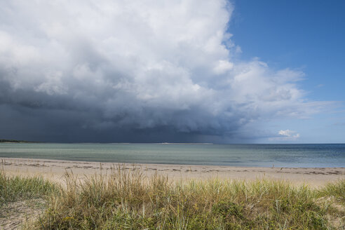 Sweden, Gotland County, Faroe, sand beach with dramatic clouds - RUNF00734