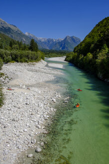 Slovenia, Soca Valley, near Bovec, Soca river, canoes - LBF02323
