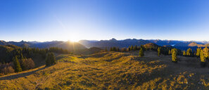 Germany, Bavaria, Bavarian Alps, Lenggries, Isarwinkel, view from high alp at sunrise, aerial view with drone - SIEF08271
