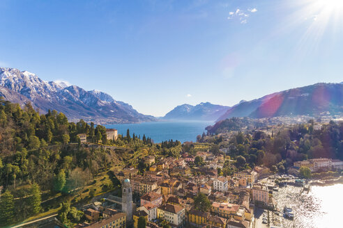 Italy, Lombardy, Aerial view of Bellagio and Lake Como - TAMF01101