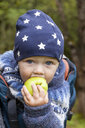 Portrait of baby boy in baby carrier eating an apple - TCF06060