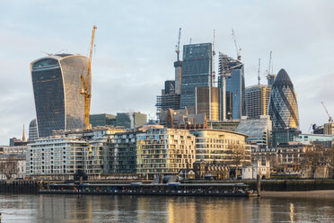 UK, London, view of the city after sunrise, cityscape with modern skyscrapers, long exposure - WPEF01269