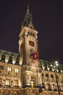 Germany, Hamburg, tower of Hamburg City Hall at night - WIF03721
