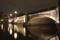 Germany, Hamburg, lighted Lombard Bridge at night - WIF03724