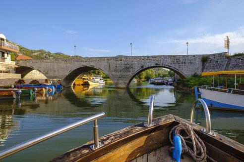 Montenegro, Virpazar, Lake Skadar, boat and bridge - SIEF08306