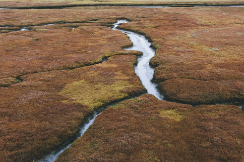 Elevated view of marsh and tidelands at dusk in a national seashore reserve. - MINF10034