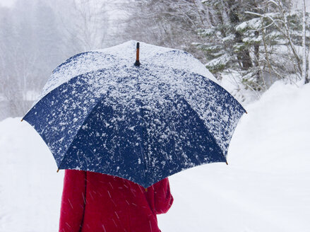 Woman with umbrella in snow - WWF04790