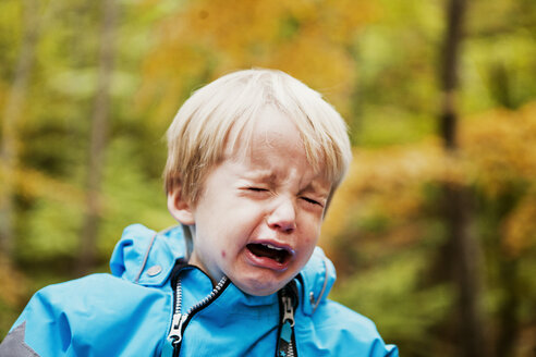 Close-up of boy crying in forest - ASTF01335