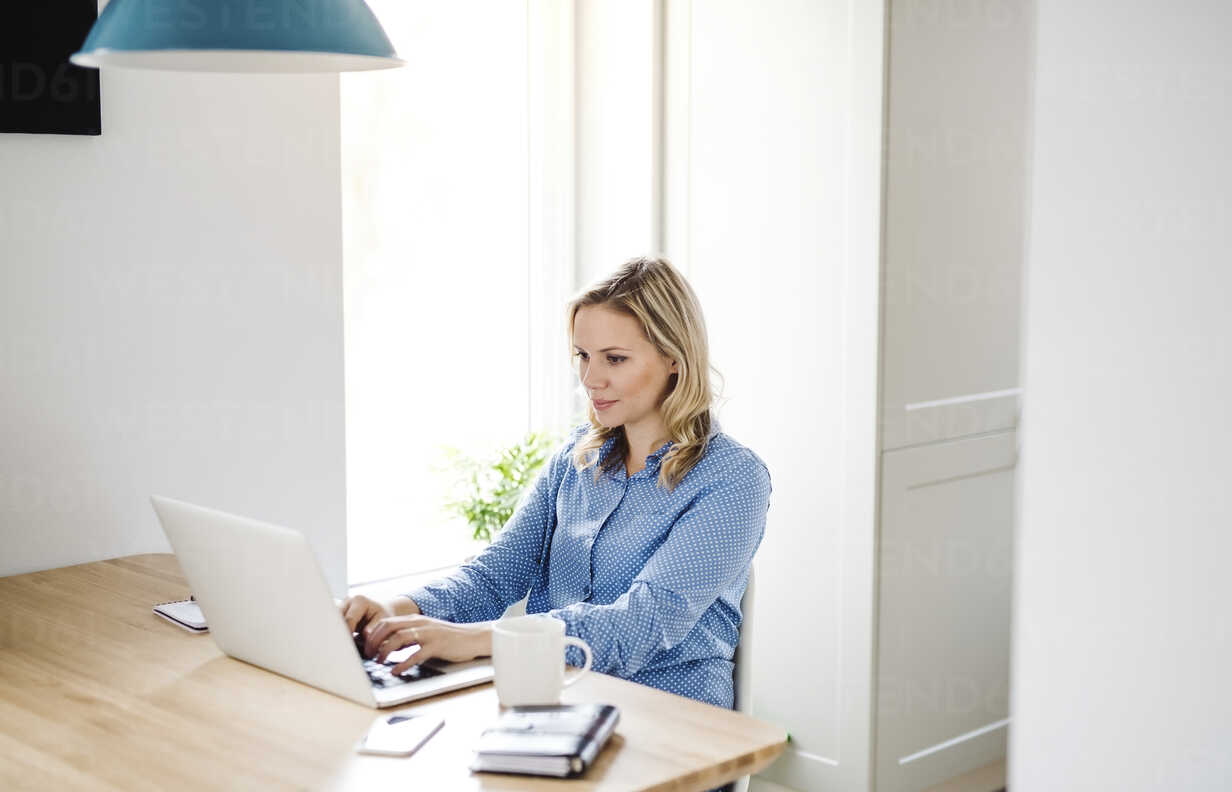 Woman with laptop working at home - HAPF02856 - HalfPoint/Westend61