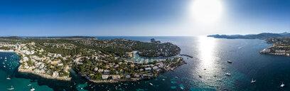 Spain, Baleares, Mallorca, Calvia region, Aerial view of Santa ponca, marina, Serra de Tramuntana in the background - AMF06652