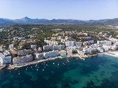 Spain, Baleares, Mallorca, Calvia region, Aerial view of Santa ponca, marina, Serra de Tramuntana in the background - AMF06655