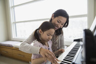 Mother teaching daughter to play piano - HEROF04450