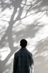 Back view of man looking on wall covered with shadows of a tree - JRFF02477