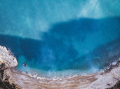 Aerial view of solitary paradisiacal beach. Benitachell Alicante, Spain. - OCMF00210