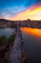 Charles Bridge at sunset, Prague, Czech Republic - CUF46716