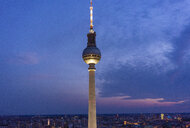 Germany, Berlin, cityscape with Berlin TV Tower in the evening - TAMF01105