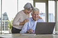 Portrait of smiling senior couple using laptop - RBF07006