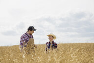 Father and son in sunny wheat field - HEROF04767