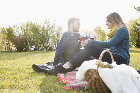 Couple drinking red wine enjoying picnic in sunny autumn park - HEROF05157