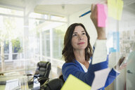 Businesswoman brainstorming with adhesive notes on office glass - HEROF05160