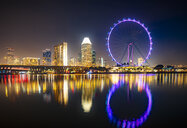 Singapore, cityscape and big wheel at night - SMAF01179
