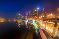 Singapore, Financial district, High-rise buildings at night - SMAF01182