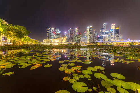 Singapore, Financial district, High rise buildings at night - SMAF01191