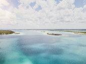 Mexiko, Yucatan, Quintana Roo, lagoon of Bacalar, drone image - MMAF00770