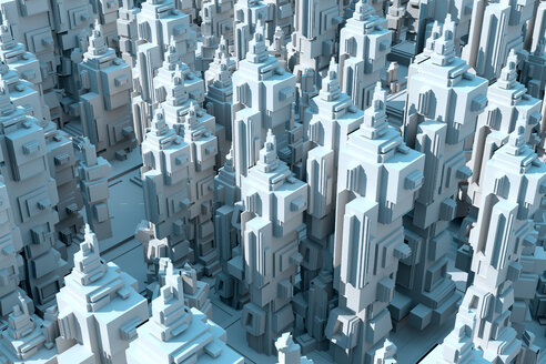 3D Rendered Illustration, Abstract conceptual render of an endless futuristic city - SPCF00324