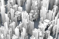 Grey skyscrapers forming an uniform city, 3D Rendering - SPCF00326